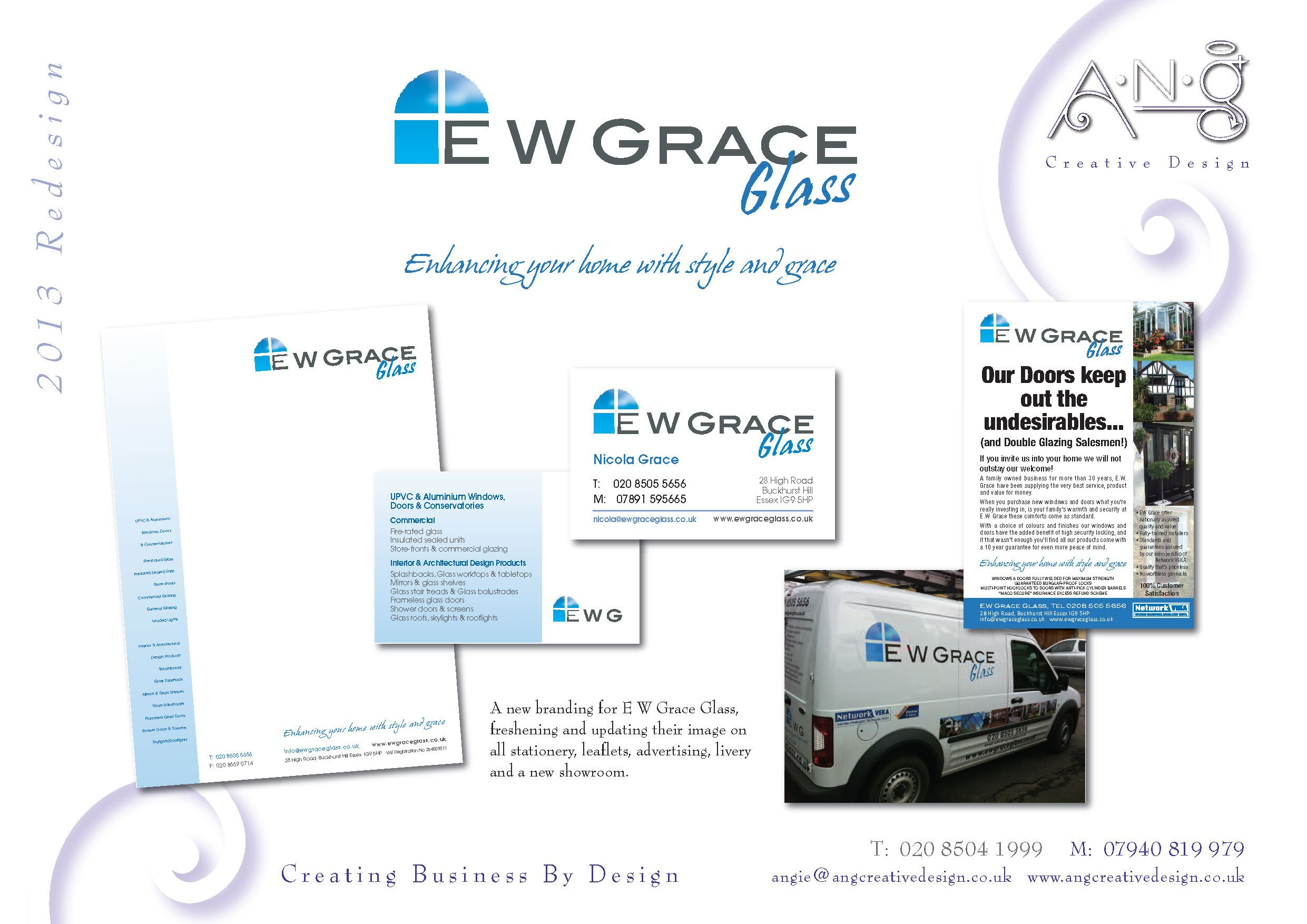 EW Grace Glass branding