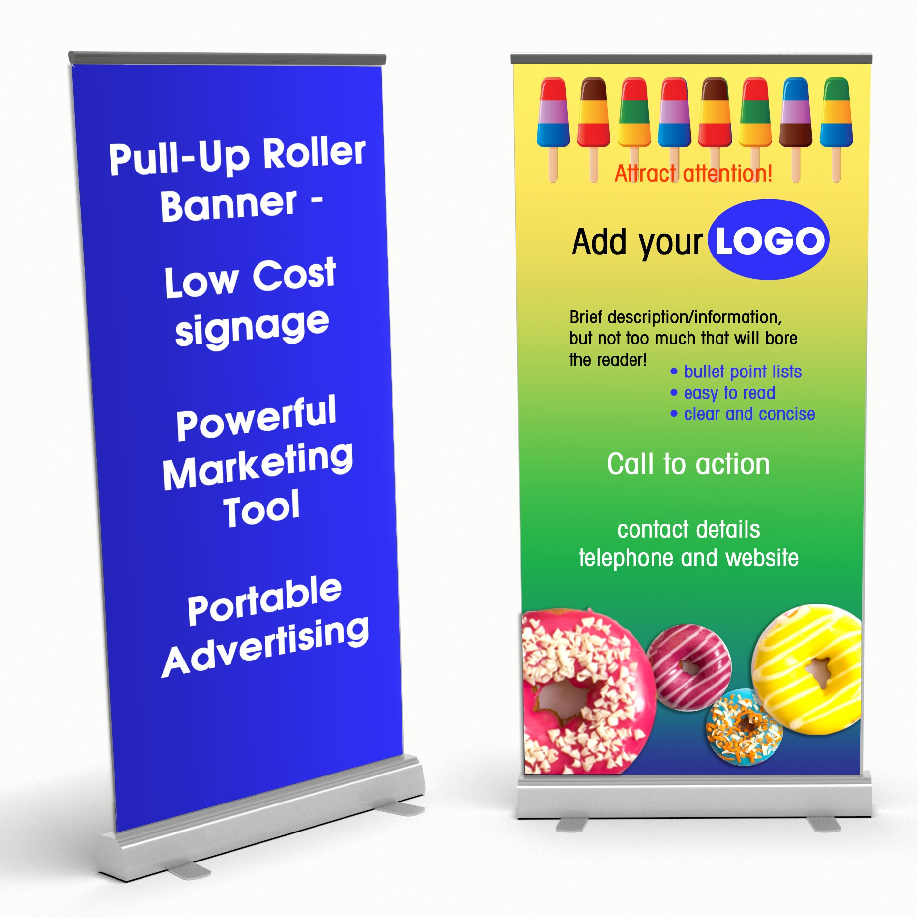 How to design a pull-up roller banner